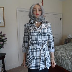 Giacca Black & White Plaid Trench Coat Size S